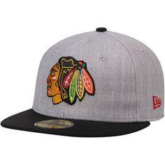 pretty nice bd6ef 63464 amazon chicago blackhawks new era fashion 59fifty fitted hat heathered gray  black 718ed 15d28