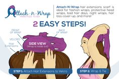 Learn How to Achieve a Chic Hair Extensions Hairstyle in seconds! 2Easy Steps! www.attachnwrap.com #attachnwrap #hairextensions #headwrap #headscarf #chemo #chemowrap #alopecia #hairloss