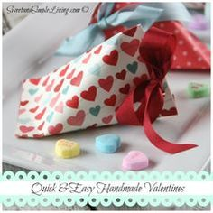 Valentine Crafts made from 1/6 of a sheet of scrapbook paper. Super quick and easy. From SweetandSimpleLivng.com