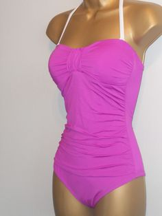 b289b04e96faf LADIES PINK MARKS   SPENCER RUCHED HALTERNECK STRAPLESS SWIMSUIT SIZE 8  CONTROL  fashion  clothing