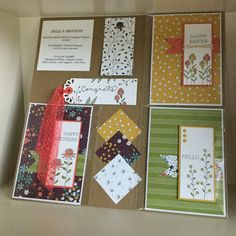 A display board showing designs featuring the Sale-a-Bration Wildflower Fields designer papers and Flowering Fields stamps - created by Julia Jordan