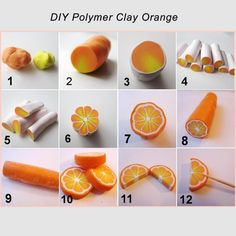 Fimo (Polymer Clay) Orange Cane Tutorial or use fondant Polymer Clay Kunst, Polymer Clay Canes, Polymer Clay Miniatures, Fimo Clay, Polymer Clay Projects, Polymer Clay Jewelry, Polymer Clay Creations, Cane Fimo, Clay Earrings