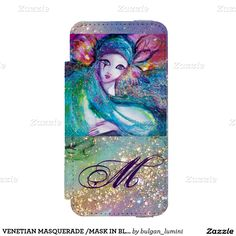 VENETIAN MASQUERADE /MASK IN BLUE MONOGRAM iPhone SE/5/5S WALLET CASE
