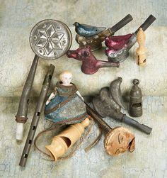 Whistles: the bird and horse whistles are from the Johnson Smith catalogue, circa I have one of the metal bird whistles. Antique Toys, Vintage Toys, Vintage Antiques, Collections Of Objects, Curiosity Shop, Weird And Wonderful, Old Toys, Toy Boxes, Art Pieces