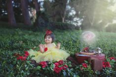 Pretty Little Belle in this gorgeous Disney's  Beauty and The Beast  Insprireid 1st birthday and cake smash session in Redlands Ca.