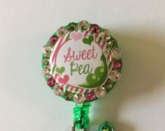 Sweet Pea Decorative Badge/ID Holder with Charms/Beads by Lindasbadgeboutique on Etsy