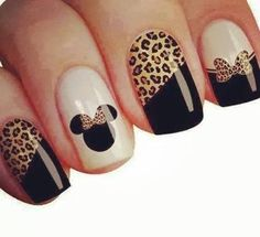 Uñas con animal print más unhas lindas, unhas fáceis, unhas do pé, unhas Fabulous Nails, Gorgeous Nails, Pretty Nails, Amazing Nails, Mickey Nails, Minnie Mouse Nails, Disney Acrylic Nails, Cute Acrylic Nails, Leopard Nail Art