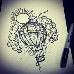 ⚪️Hannah Von Farren⚪️ sur Instagram : New hot air balloon design, available at TATTOO TEA PARTY! @tattooteaparty @bravestkidstattoo #tattoo #tattoos #illustrationtattoo #illustrativetattoo #etchingtattoo #etching #dotwork