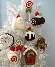 Ravelry: Christmas Sweets Ornament Set pattern by Amy Gaines Crochet Christmas Decorations, Crochet Decoration, Crochet Ornaments, Christmas Crochet Patterns, Holiday Crochet, Felt Christmas Ornaments, Christmas Sweets, Crochet Crafts, Handmade Christmas