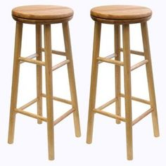 "Winsome Basics 30"" Beechwood Swivel Bar Stool (Set of 2)"