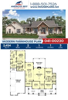 Modern Farmhouse Plan In addition to this Modern Farmhouse's superior exterior design, Pla House Plans One Story, Best House Plans, Dream House Plans, Small House Plans, Dream Houses, New Houses, Farm Houses, Open Floor House Plans, Farmhouse Floor Plans