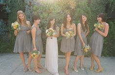 mismatched grey bridesmaid dresses yellow flowers - Google Search