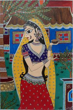 lady_madhubani Madhubani Paintings Peacock, Kalamkari Painting, Tanjore Painting, Madhubani Art, Indian Art Paintings, Buddha Kunst, Buddha Art, Dance Oriental, Rajasthani Art