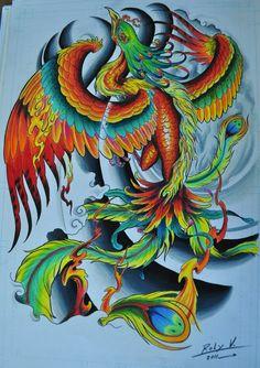 fenix tatuagem colorida - Pesquisa Google