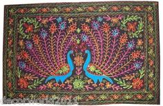 ETHNIC-INDIAN-HAND-CRAFTED-EMBROIDER-PEACOCK-WALL-HANGING-HOME-DECOR-FOLK-ART