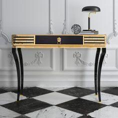 High End Decorative Black Console Table   Black and gold, the perfect combination   www.bocadolobo.com   #design #luxury #interiordesign