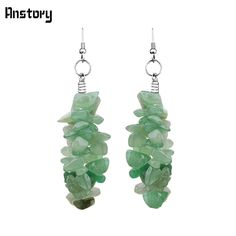 Personality Natural Irregular Cluster Jade Dangle Hook Earrings Antique Silver Plated Fashion Jewelry TE214
