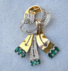 Rare Deja Gold Wash Rhinestone Ribbon Art Deco Brooch Vintage