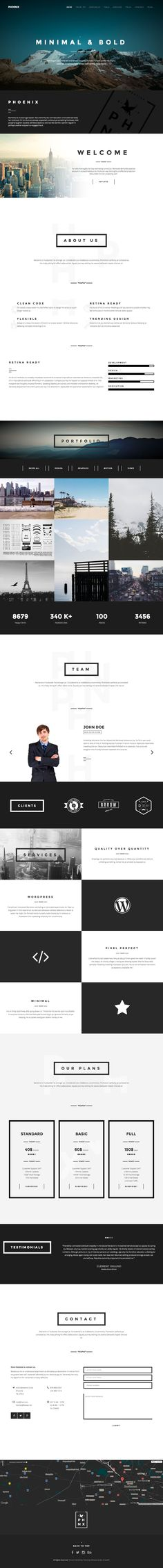 """'Phoenix' is a One Page WordPress Theme based on the Bootstrap 3 Framework and is suited for a creative agency or as a freelancer portfolio. The design features elements of """"Flat Design"""" with thick line borders and bold fonts. Feature wise this theme is packed - a few noteworthy items include the popular Visual Composer plugin (worth $33) for drag-n-drop section management, video + slideshow background options, Isotope portfolio filtering, pricing table and a bonus page template acting as a…"""