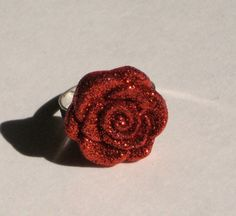 Sparkly Red Rose Ring Lolita Goth Pin Up by GlampireDesign on Etsy