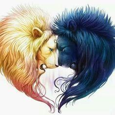 Ying yang lion hearts Love it! Ying yang lion hearts Love it! Fantasy Kunst, Fantasy Art, Fantasy Animal, Ying Yang, Heart Painting, Painting Canvas, Artist Painting, Diy Painting, Canvas Prints