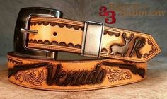 Custom belt by 33 Ranch & Saddlery Leather Tool Belt, Leather Tooling, Leather Suspenders, Ranch, Carving, Custom Belts, Gallery, Handmade, Accessories