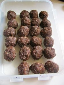 Protein Powder Balls. Uses raisins, walnuts, wheat germ, chia seeds, protein powder, unsweetened cocoa, and almond butter.