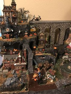"""halloween village Hello there and welcome to and Main"""" custom village displays. This listing is here to get you started on a custom display landscape that I (Nichole) will des Fete Halloween, Halloween House, Halloween Decorations, Halloween Village Display, Space Opera, Haunted Dollhouse, Halloween Miniatures, Halloween Diorama, Collection"""