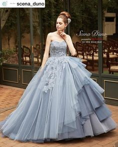 9437e4042fe13 Scena D uno💐ブルーグレーのグラデーションが美しいチュールスカートに、身頃から流れるコードレースが高貴に見えるドレス💍🕊✨  scena duno  からリポストさせて ...