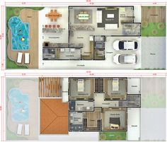 Planta de sobrado com piscina e deck - Projetos de Casas - Modelos de Casas