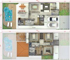 Apresentamos mais um projeto de sobrado com garagem para duas vagas e três dormitório, sendo o de casal com suíte e closet. Todos os quartos possuem um ótimo aproveitamento dos espaços com guarda-roupas embutidos. O pavimento superior fica bem isolado da parte social da casa garantindo uma maior intimidade. Na área social da casa temos o pavimento térreo, onde sala de tv, sala de jantar e cozinha são integradas e com acesso para uma ótima área gourmet, um local para aproveitar o convívio em…
