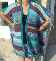 Knit blanket poncho  Hippy poncho  Festival poncho  by WoolieBits