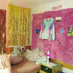what do you think of this fabric on the wall concept? (also I love tinsel curtains, I have a purple one)