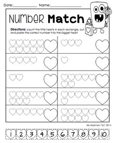 ... and Math. Numbers 1-10 cut and paste matching worksheet md5 low group
