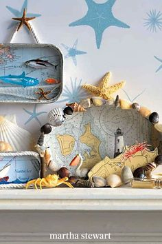 After a day at the beach, re-create an oceanic habitat with the treasures you've collected. Use a nautical map as the backdrop to your marine-like décor. The special part of this deep-sea decoration is that you can add as much detail as you'd like. #marthastewart #crafts #diyideas #easycrafts #tutorials #hobby
