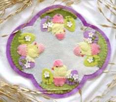 Angelwrap Wool Applique Easter Chicks Candlemat Kit Includes Wool Pattern Charm | eBay