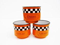 French orange enameled soap pots by LesCoquettesDuPerche on Etsy