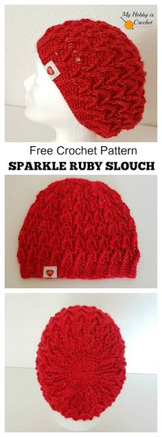 Sparkle Ruby Hat - Free Crochet Pattern in Read Heart Sparkle Soft