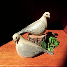 Mourning Dove Pair - Handmade Cast Stone Garden Statue - Bird Figurine
