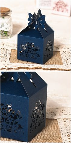 Navy Blue Laser Cut Wedding Favor Bo