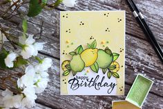 Little Crafty Pill: Citrus Watercolor Birthday Card