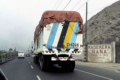 Armando Andrade Tudela, Camion, detail, 2003, single slide projection, Dimensions variable Courtesy the artist and Carl Freedman Gallery.  Whilst making numerous road trips Armando Andrade Tudela has documented the mural-scaled modernist designs with which Peruvian truck owners frequently customise the exterior of their vehicles.