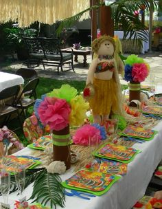 luau table centerpiece mermaid and hula dancer paper flowers hot chargers