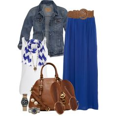 Blue Maxi Skirt by marta-cercols on Polyvore