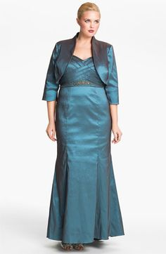 Adrianna Papell Taffeta Mermaid Gown & Bolero (Plus) available at #Nordstrom