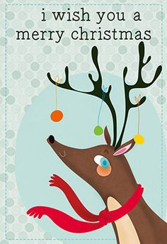 """Reindeer and ornaments"" printable card. Customize, add text and photos. print for free! #Christmas #Card"