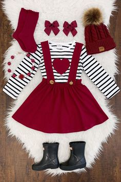 US Girls and Toddler Girls Valentine's Day Outfit 2 PC Suspender Skirt Set Dre. US Girls and Toddler Girls Valentine's Day Outfit 2 PC Suspender Skirt Set Dress Toddler Valentine's Day Outfit, Toddler Outfits, Kids Outfits, Cute Outfits, Toddler Girls, Little Girl Outfits, Little Girl Fashion, Kids Fashion, Red Suspenders