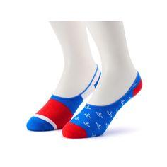 Men's 2-Pack Patterned No-Show Liner Socks, Blue Other