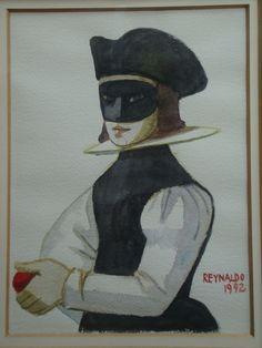Reynaldo Fonseca - Mascarado - Aquarela sobre papel - 30x22cm - datado de 1992 - com moldura