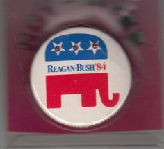 Pentagrams with flashy red lgihts on1984 Reagan Bush Campaign Button